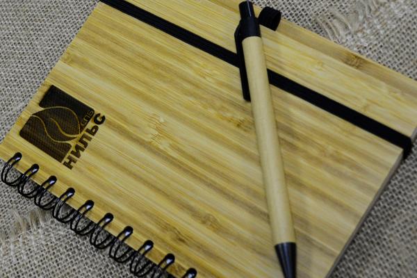 эко-набор блокнот и ручка с лазерной гравировкой