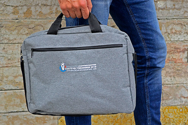 Конференц-сумка с печатью логотипа шелкотрансфером